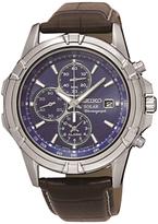 Seiko Ssc141p2 Chronograph Date Leather Strap Watch, Brown/dark Blue