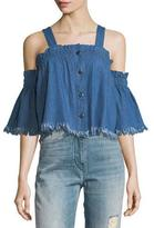English Factory Off-The-Shoulder Cropped Denim Blouse