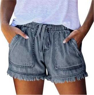 CUTUDE Fringe Pocket Jeans Women's Stylish Ripped Hole Short Denim Pants Ladies Fashion Tassel Bandage Bottom Casual Washed Trousers (Dark Blue L)