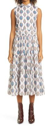 Chloé Ceramic Print Silk Habutai Midi Dress