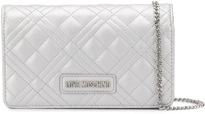 Love Moschino logo quilted clutch