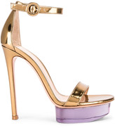 Gianvito Rossi Ankle Strap Platform Heels in Gold | FWRD