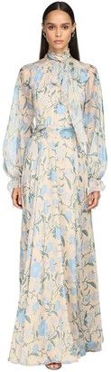 Luisa Beccaria PRINTED CHIFFON LONG DRESS W/ BOW COLLAR
