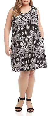 Karen Kane Plus Chloe Geo-Print A-Line Dress