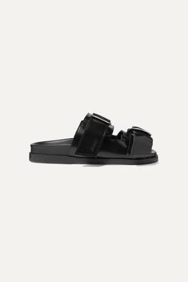Ganni Buckled Polished-leather Slides - Black