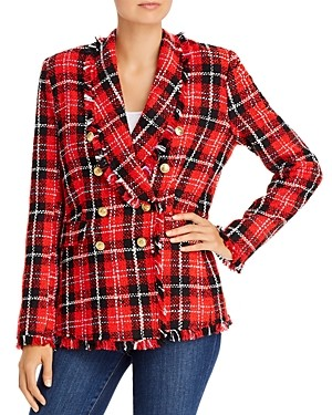 Aqua Plaid Tweed Open-Front Blazer - 100% Exclusive