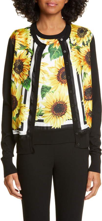 Dolce & Gabbana Sunflower Print Cardigan