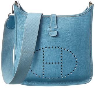 Hermes Blue Clemence Leather Evelyne I Pm