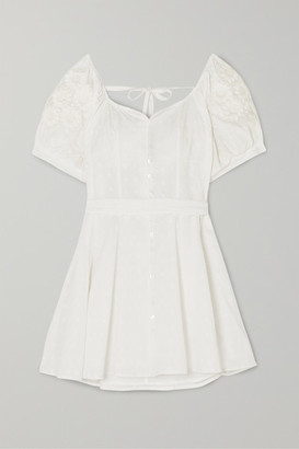 Innika Choo Embroidered Fil Coupe Ramie Mini Dress - White