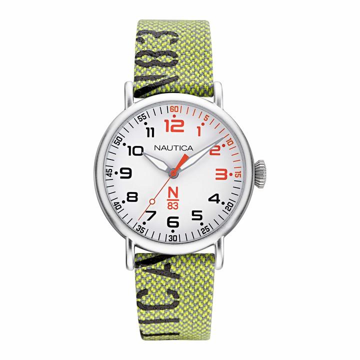 Nautica Men's N83 Loves The Ocean Brass Plated Stainless Steel Quartz Nylon Strap Green 20 Casual Watch (Model: NAPLSS005)
