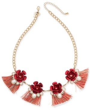 "Thalia Sodi Two-Tone Crystal & Imitation Pearl Rosette Fringe Statement Necklace, 18-1/2"" + 3"" extender, Created for Macy's"