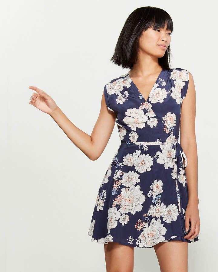 Yumi Kim Floral Print Silk Mini Wrap Dress