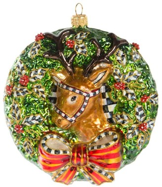 Mackenzie Childs Deer Wreath Glass Ornament