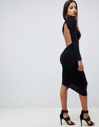 Asos Design DESIGN long sleeve extreme open back midi bodycon dress-Black