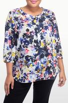 NYDJ Hepburn Shadow Floral Print 3/4 Sleeve Blouse In Plus