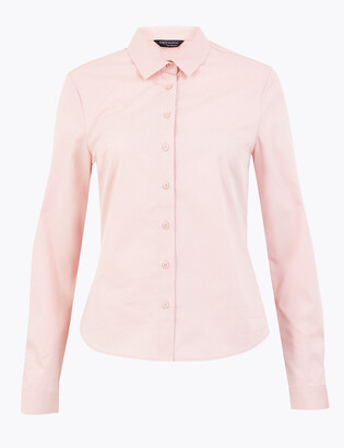 Marks and Spencer Cotton Fitted Long Sleeve Shirt