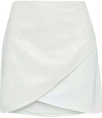 Alice + Olivia Fidela Wrap-effect Leather-paneled Crepe Mini Skirt
