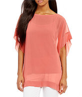 Eileen Fisher Bateau Neck Short Sleeve Kimono Box-Top