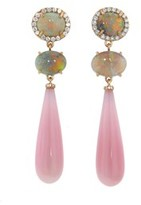 Irene Neuwirth Oval Lightening Ridge and Pink Opal Drop Earrings - Rose Gold