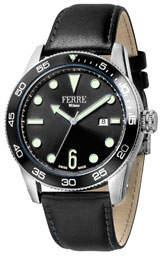 Ferré Milano Men's 42mm Watch w/ Leather, Black