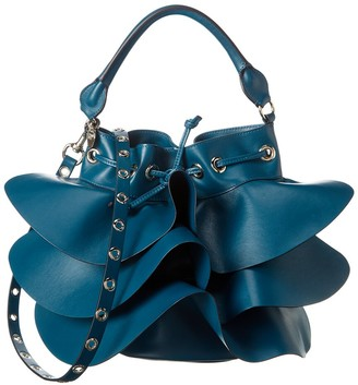 RED Valentino Ruffle Leather Bucket Bag