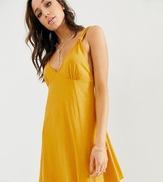 Asos Tall DESIGN Tall seamed mini swing sundress-Yellow