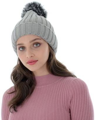 Autumn Faith Womens Grey Chunky Knitted Beanie Hat with Faux Fur Pom Pom Bobble Ladies Ribbed Knit Winter Accessory (One Size)