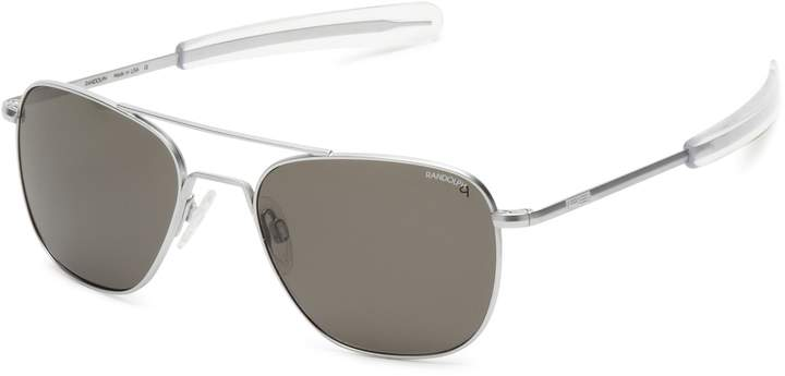 Randolph Aviator Square Sunglasses, 55, Gun Metal, Bayonet, Gray Polarized Lenses