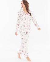 Soma Intimates Cotton Blend PJ Set Pink Ski Bunnies