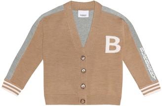 BURBERRY KIDS Logo merino wool cardigan