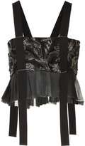 Maison Margiela metallic pattern crop top - women - Silk/Viscose - 40