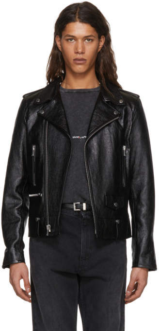 Saint Laurent Black Leather LL-1 Moto Jacket