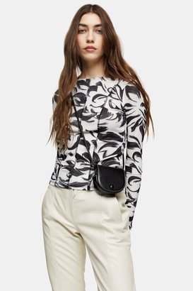Topshop Black and White Brush Stroke Print Top