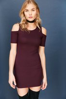 Silence & Noise Silence + Noise Ribbed Cold-Shoulder Bodycon Mini Dress