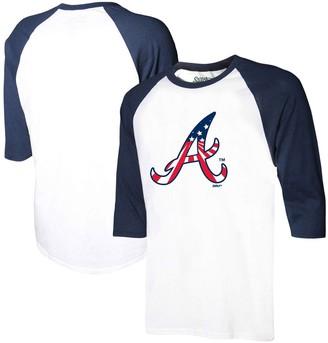 Stitches Men's White/Navy Atlanta Braves Stars & Stripes Americana Raglan 3/4-Sleeve T-Shirt