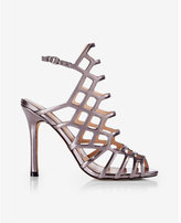 Express metallic caged heeled sandal