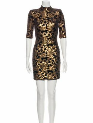 Alice + Olivia Printed Mini Dress Gold