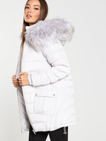 Very Multi Seam Padded Coat with Faux Fur Trim - Pale Grey