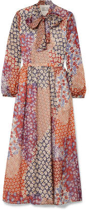 Paul & Joe Pussy-bow Floral-print Silk-chiffon Midi Dress - Orange