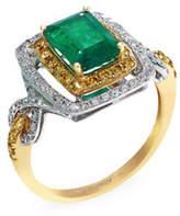 Effy 14k White and Yellow Gold Diamond Yellow Diamond Emerald Ring