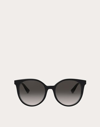 Valentino Round Acetate Frame With Functional Stud Women Black Acetate 100% OneSize