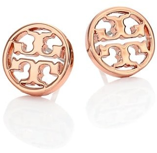 Tory Burch Logo Circle Stud Earrings/Rose Goldtone