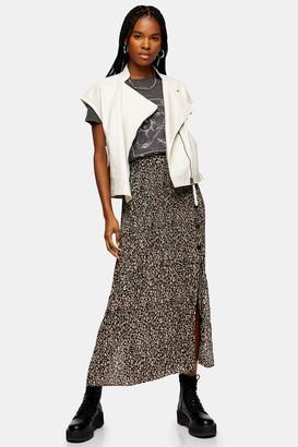 Topshop Leopard Side Button Pleat Midi Skirt