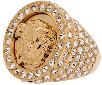 Versace embellished crystal Medusa ring