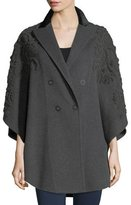 Elie Tahari Elsy Embroidered 3/4-Sleeve Coat