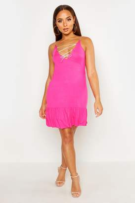 boohoo Sundress With Lace Up Tie Detail & Frill Hem