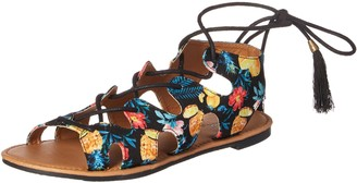 Qupid Women's lace up Sandal Flat