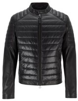 Boss Regular-fit leather jacket with quilted-fabric panel