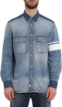 Diesel Men's Miller Striped-Armband Chambray Shirt