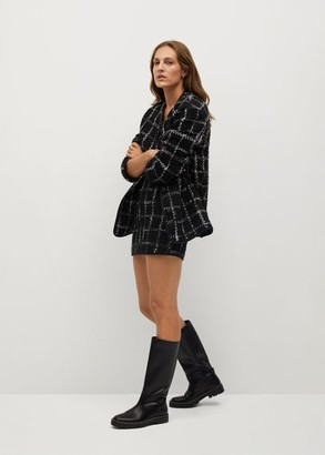 MANGO Check tweed miniskirt